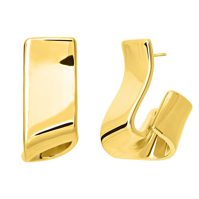Gold sculptural earrings, J03507-02, hi-res