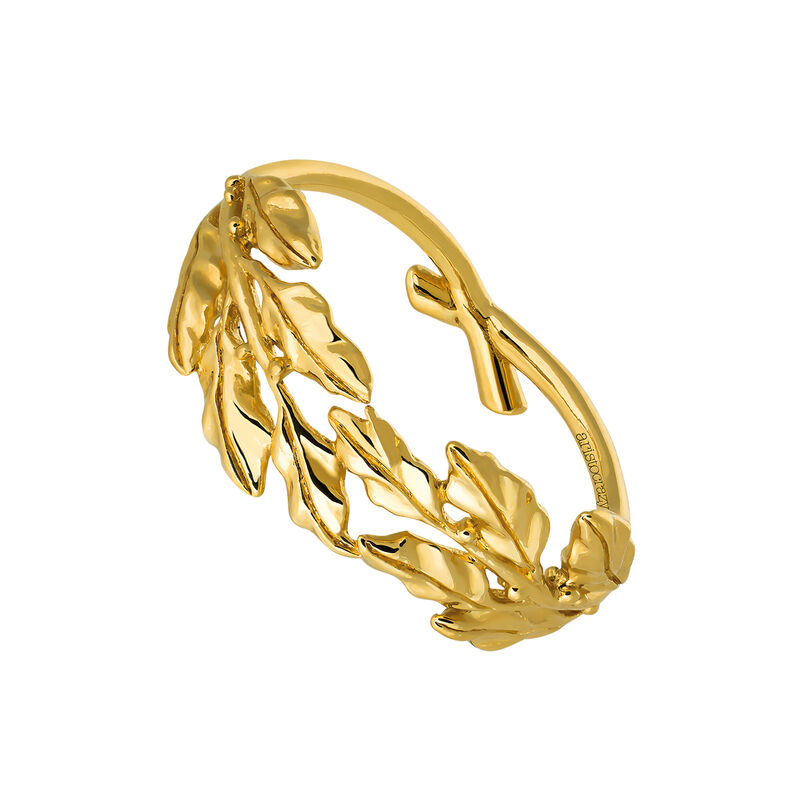 Gold laurel ring, J03453-02, hi-res