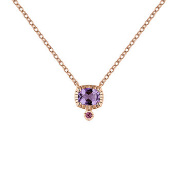 Rose gold plated amethyst necklace, J04669-03-LAM-RO, hi-res