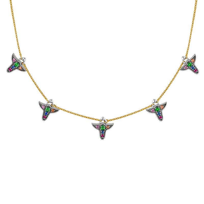 Collar motivos zafiros multicolor plata y oro 9cts, J04315-10-MULTI, hi-res