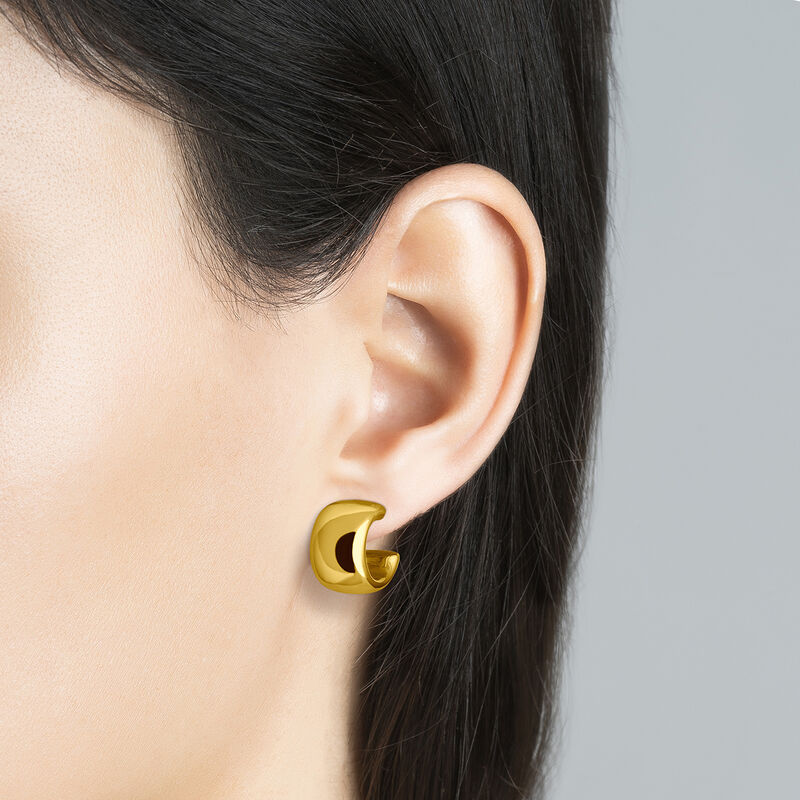 Gold smooth mini hoop earrings, J00643-02, hi-res