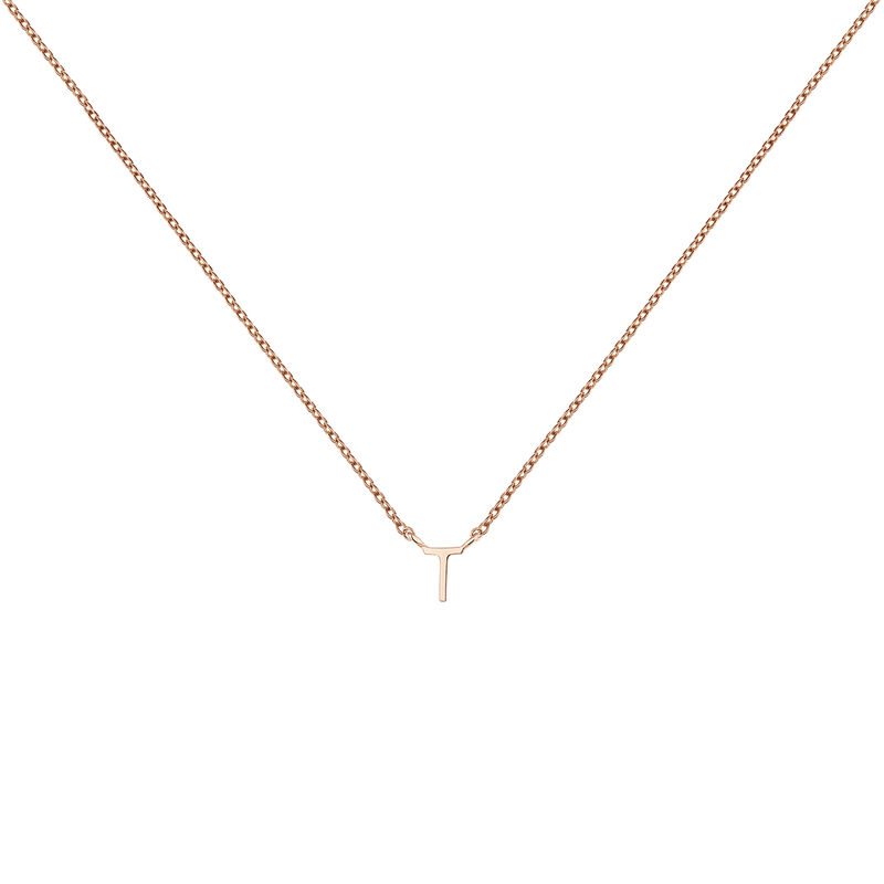 Rose gold Initial T necklace, J04382-03-T, hi-res