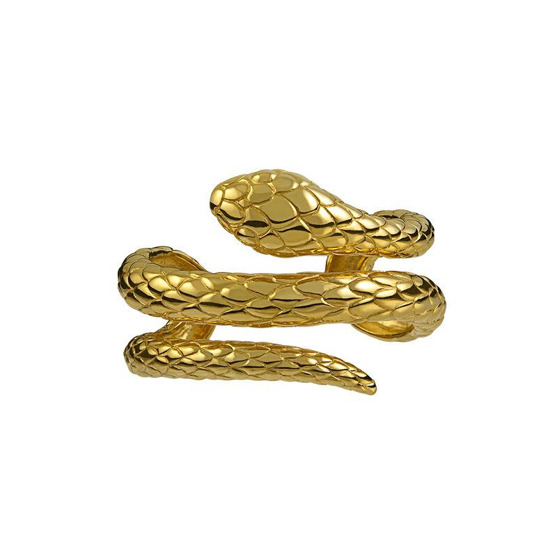 Gold plated snake rigid bracelet, J00237-02, hi-res