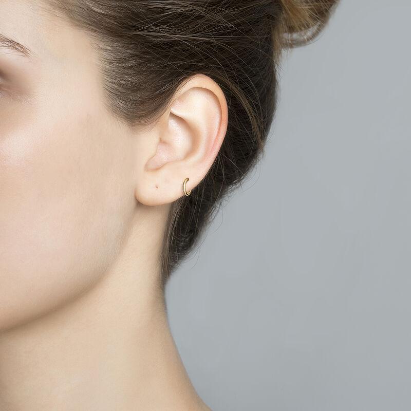 Small rose gold hoop earring piercing, J03842-03-H, hi-res