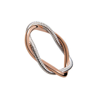 Bicolour silver smooth and cabled braided ring, J02074-05, hi-res