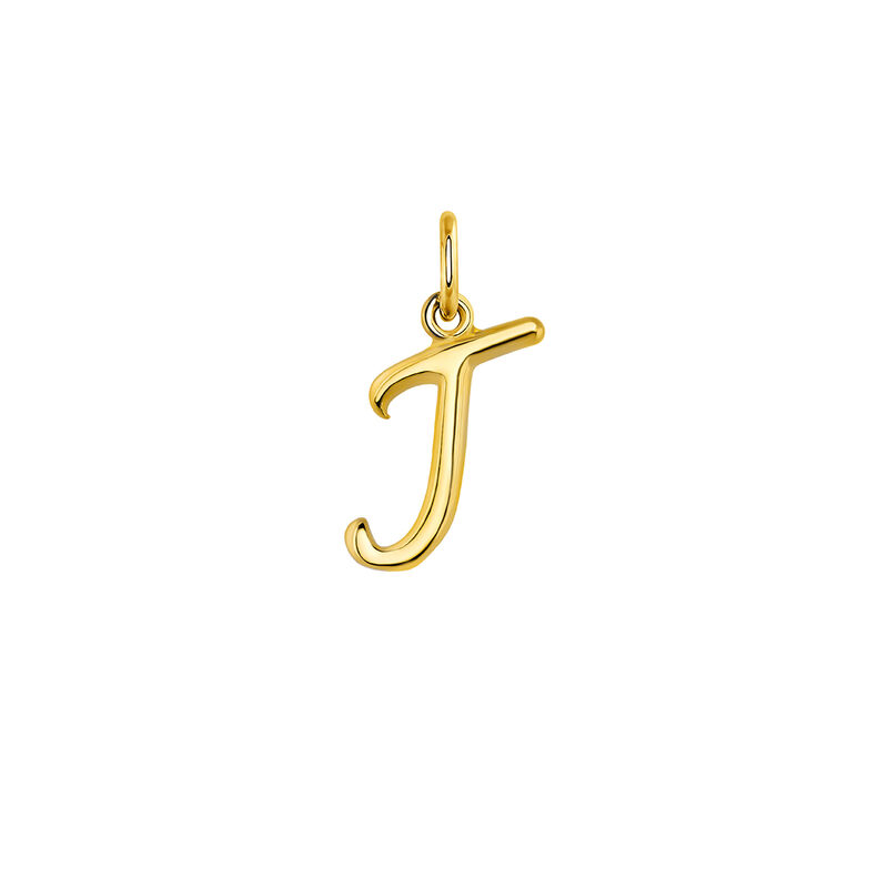 gold plated initial J necklace, J03932-02-J, hi-res