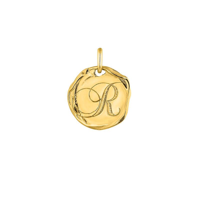 Pendentif médaille initiale R en argent plaqué or, J04641-02-R, hi-res