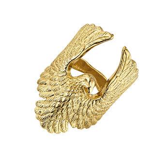 Bague aigle argent plaqué or, J04550-02, hi-res