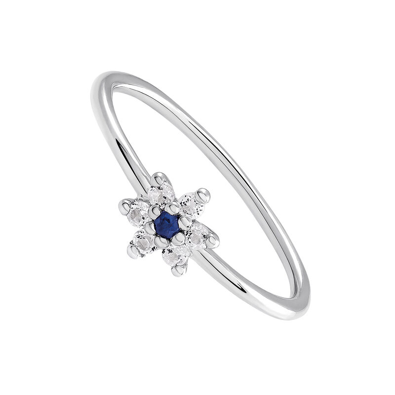 6f4bc952ad71 Anillo flor plata zafiro azul
