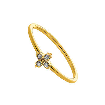 Gold ring four diamonds, J03390-02, hi-res