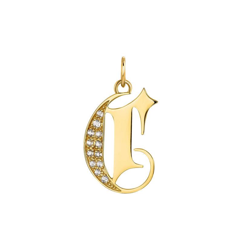 Colgante inicial gótica C topacio plata recubierta oro, J04015-02-WT-C, hi-res