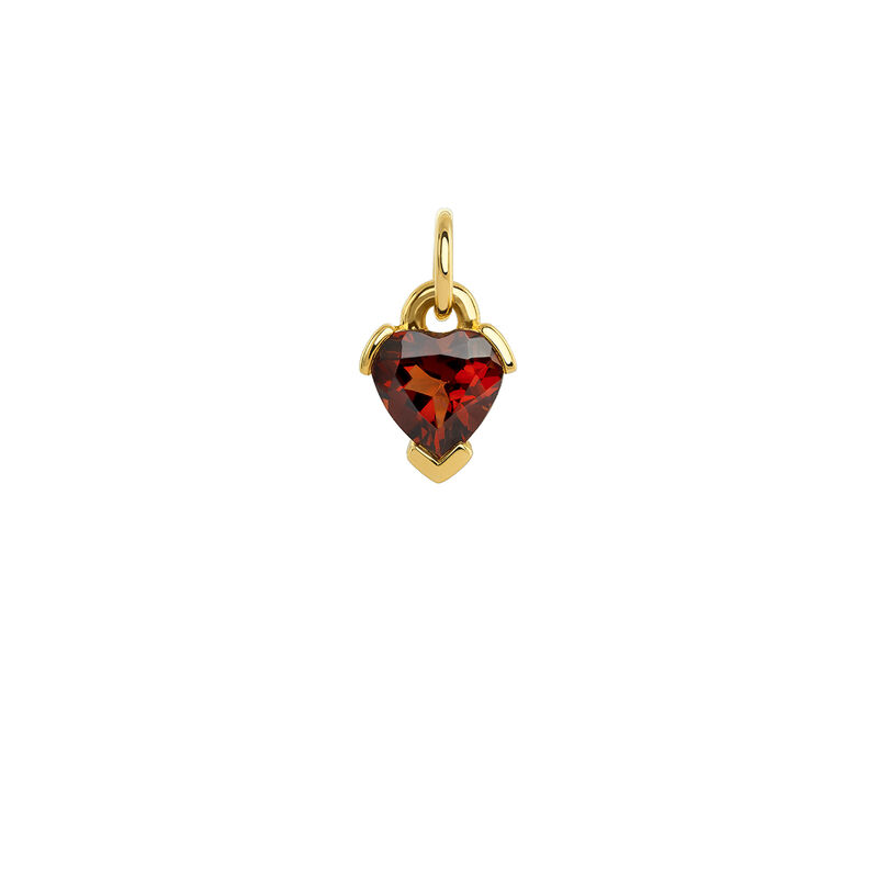 Heart garnet gold pendant, YELLOWGOLDPLTD STERLING SILVER, hi-res