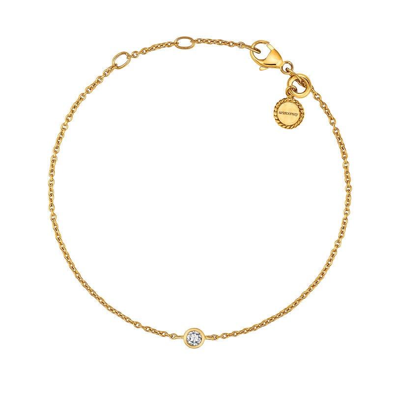 Bracelet chaton argent plaqué or, J03437-02, hi-res