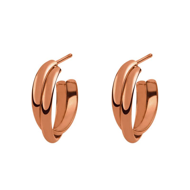 Rose gold cross double hoop earrings, J01756-03, hi-res