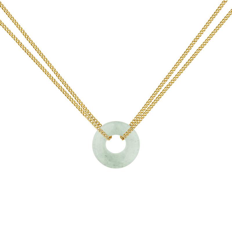 Gold plated silver aventurine motif necklace, J04758-02-GAV, hi-res