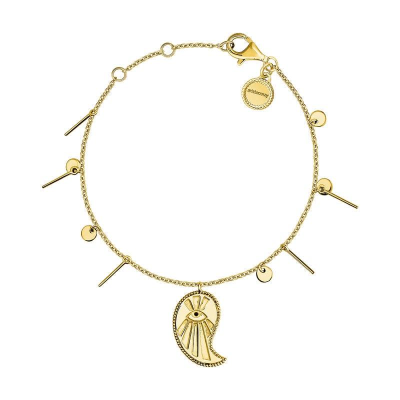 Gold plated cashmere pendant bracelet with spinels, J04136-02-BSN, hi-res