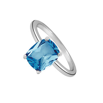 Large silver ring with topaz  , J01958-01-SB, hi-res