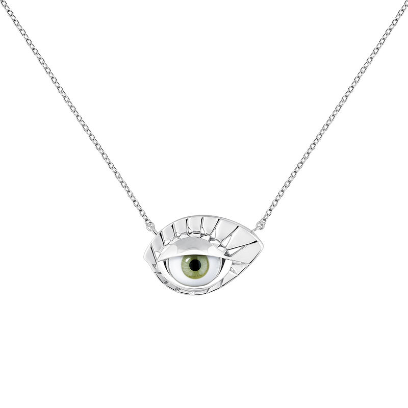 Silver green eye necklace, J04400-01-GE, hi-res