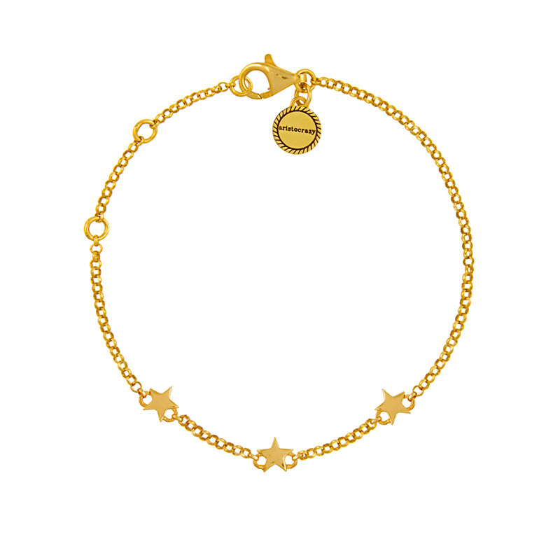 Gold mini stars bracelet, J01898-02, hi-res