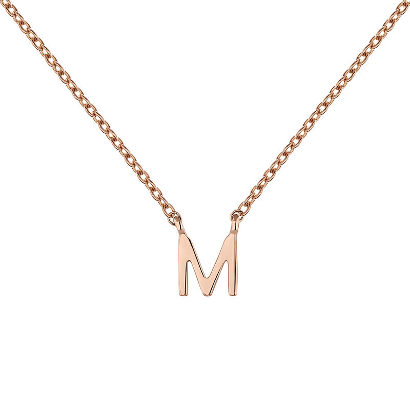 Collar inicial M oro rosa9 kt, J04382-03-M, hi-res