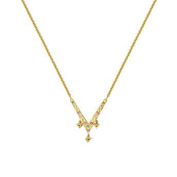 Colgante herradura con piedras oro, J03575-02-SA, hi-res