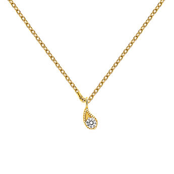 Yellow gold diamond necklace 0.061 ct, J03397-02, hi-res