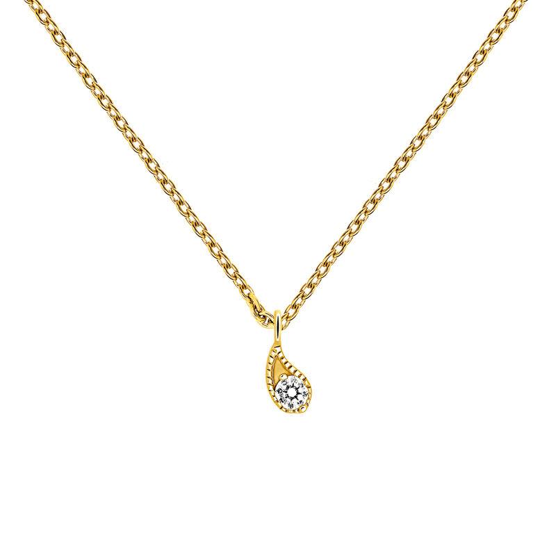Yellow gold diamond necklace 0.061 ct, J03397-02, hi-res