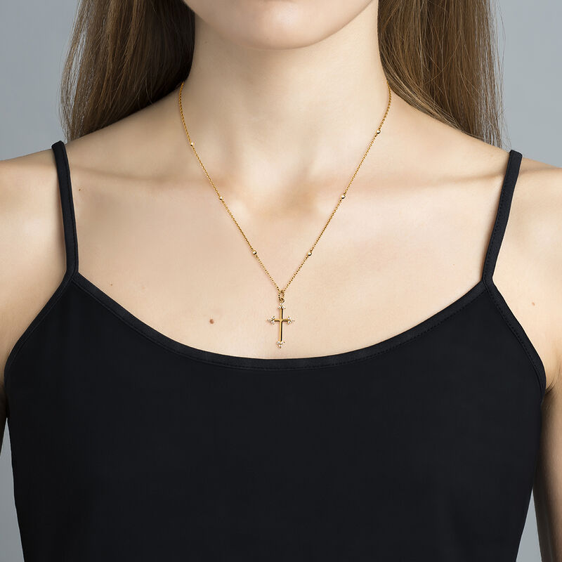 Gold plated shamrock cross necklace with topaz, J04232-02-WT, hi-res