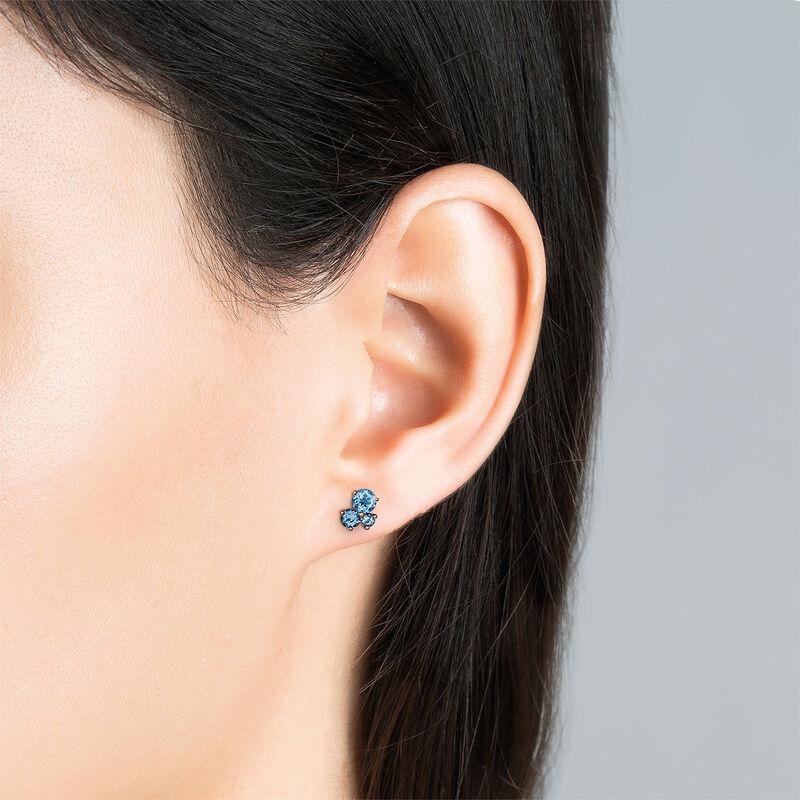 Boucles d'oreilles trois pierres argent plaqué or rose, J03458-03-LB, hi-res