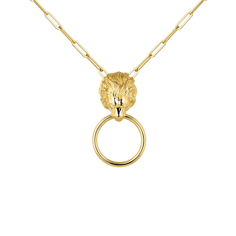 Gold plated lion necklace, J04240-02, hi-res