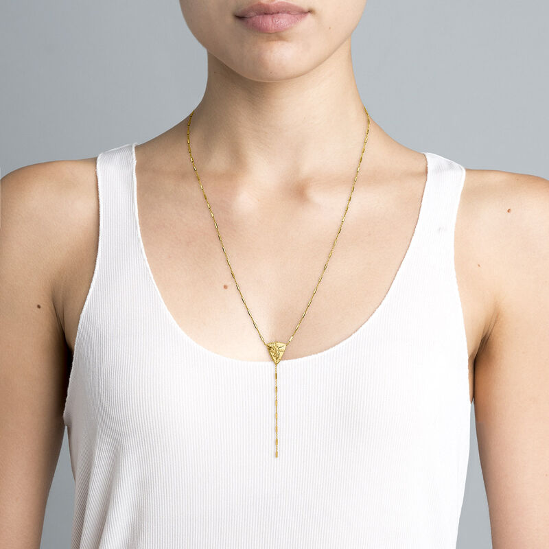 Collar medalla triangular plata recubierta oro, J04719-02, hi-res