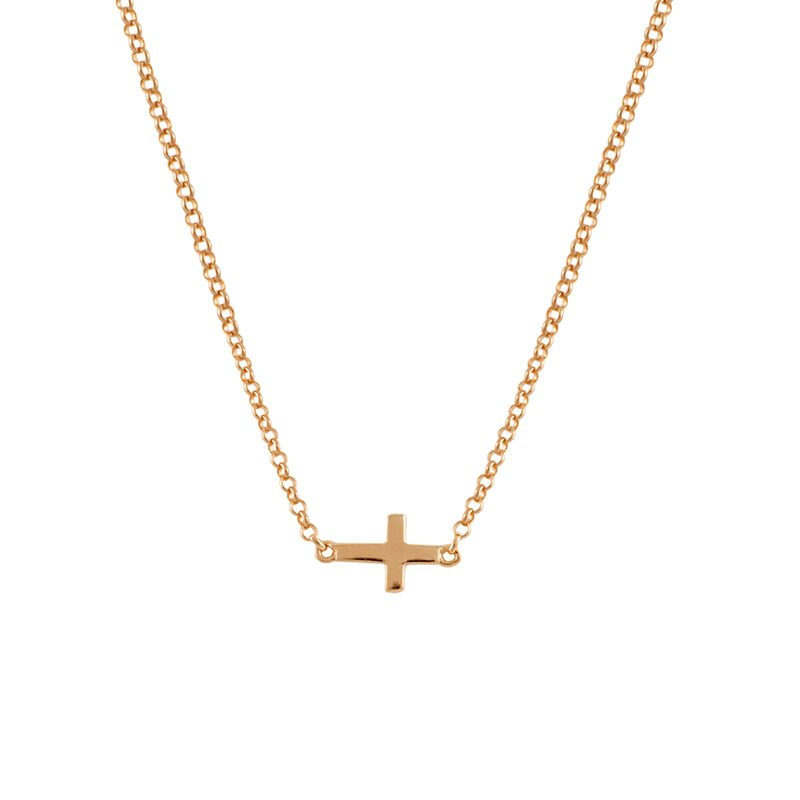 Rose gold plated simple cross necklace, J00653-03, hi-res