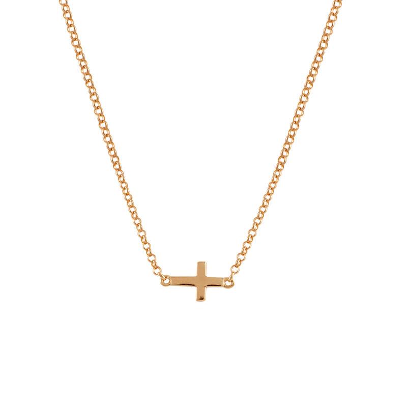 Colgante cruz simple plata recubierta oro rosa, J00653-03, hi-res