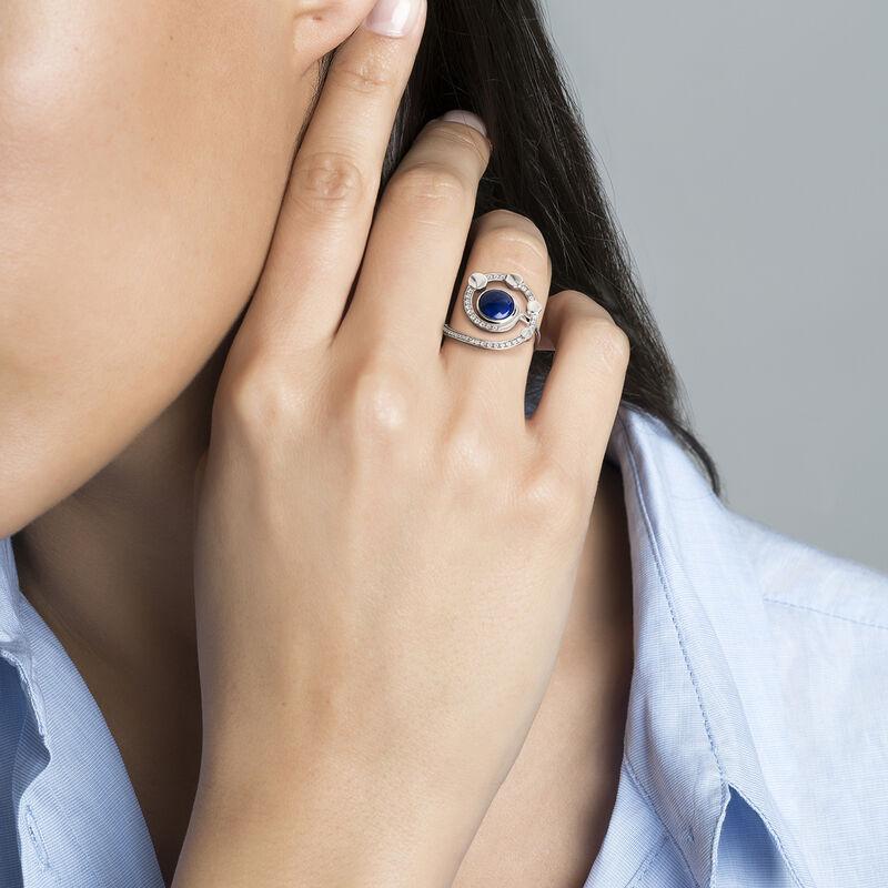 Silver spiral gemstone ring, J03999-01-LPS-WT, hi-res