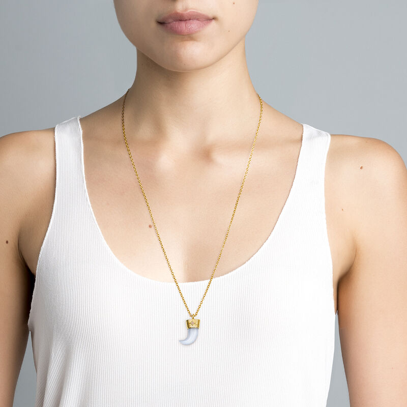Gold plated silver fang necklace, J04390-02-BCHAL-RO, hi-res