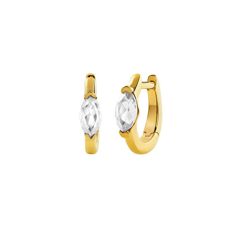 Pendientes aro mini topacio plata recubierta oro, J03273-02-WT, hi-res