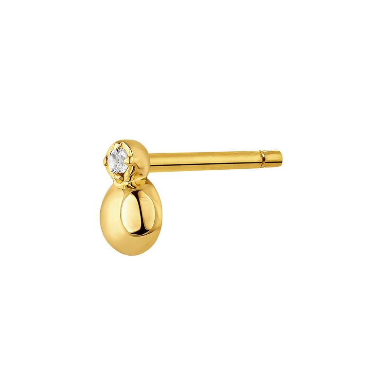Boucle d'oreille mini topaze argent plaqué or, J04658-02-WT-H, hi-res