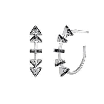 Silver triangle hoop earrings, J03962-01-BSN, hi-res