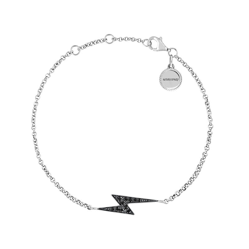 Silver spinel bracelet with lightning bolt, J03640-01-BSN, hi-res