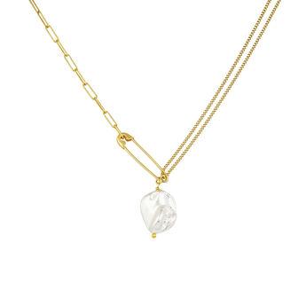 Collier épingle perle en argent plaqué or, J04574-02-WP, hi-res