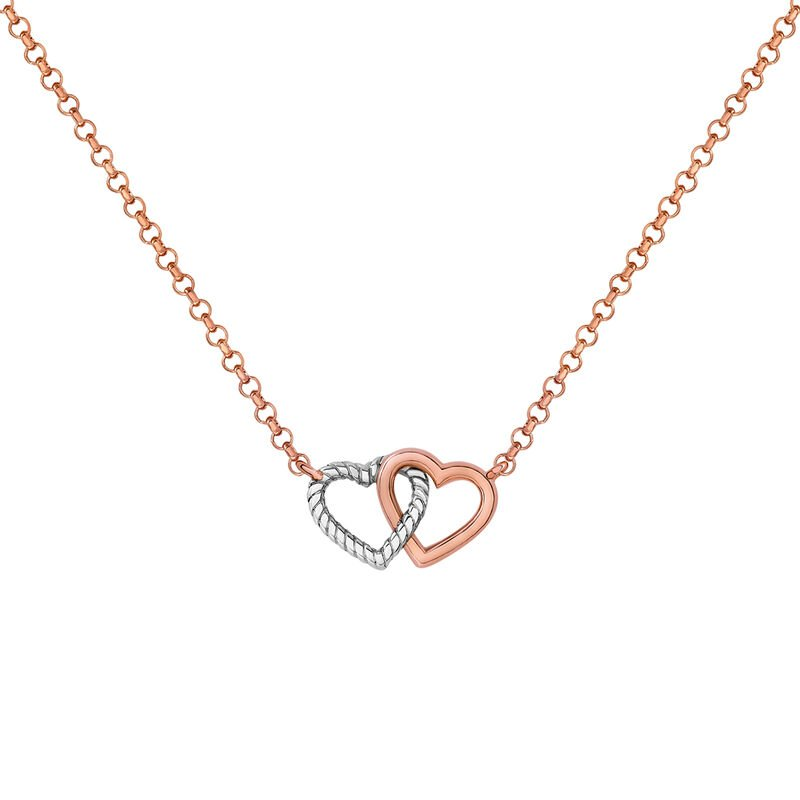 Silver double heart necklace, J03195-05, hi-res