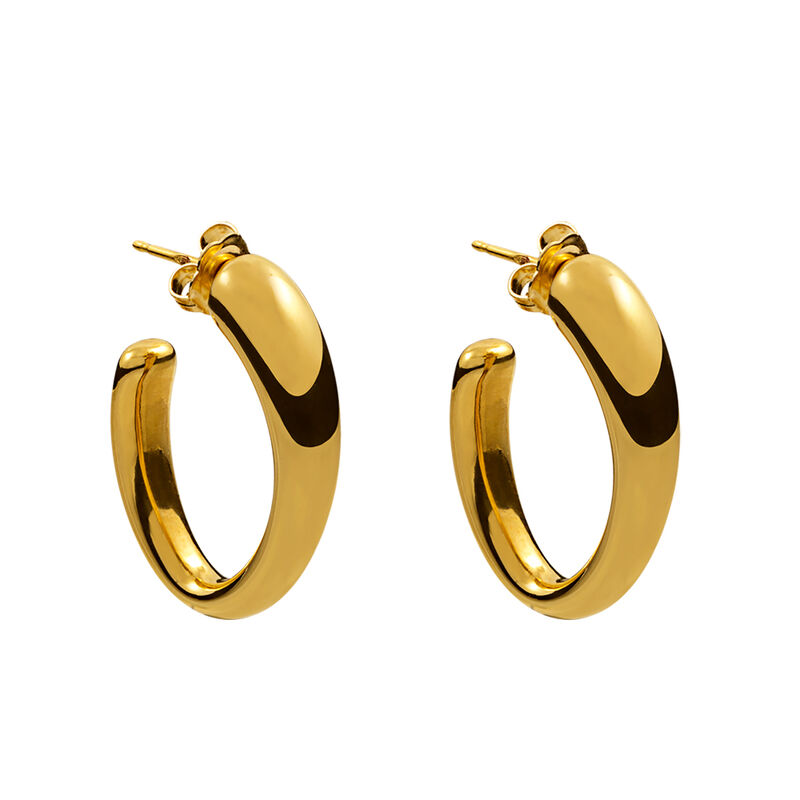 Medium gold plated oval earrings, J00800-02, hi-res