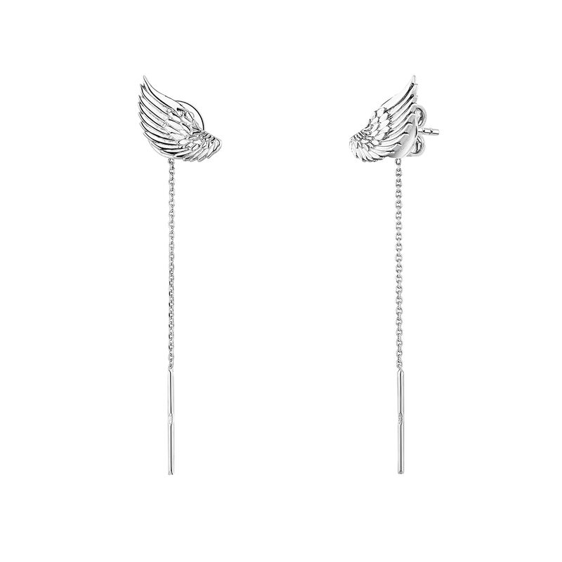 Silver wing earrings, J04301-01, hi-res
