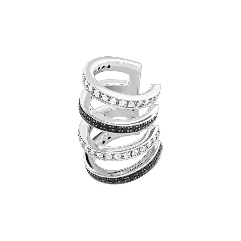 Silver hoop gemstone cartilage ring, J04028-01-WT-BSN, hi-res