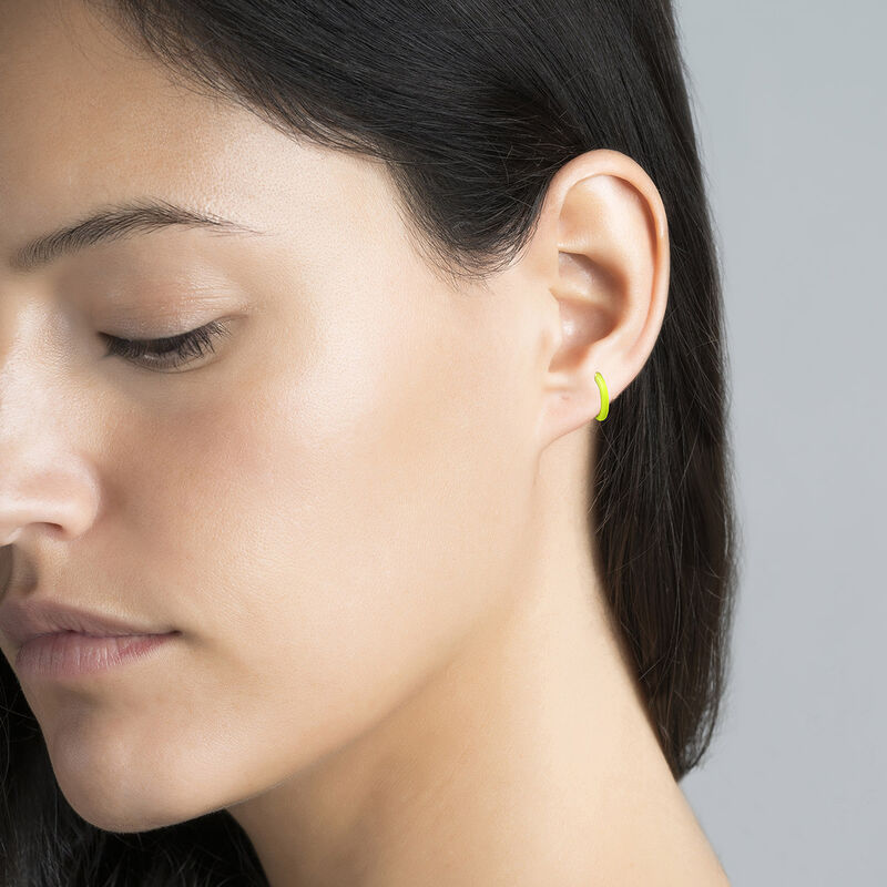 Gold plated silver yellow enamel earring, J04129-02-YELLENA-H, hi-res