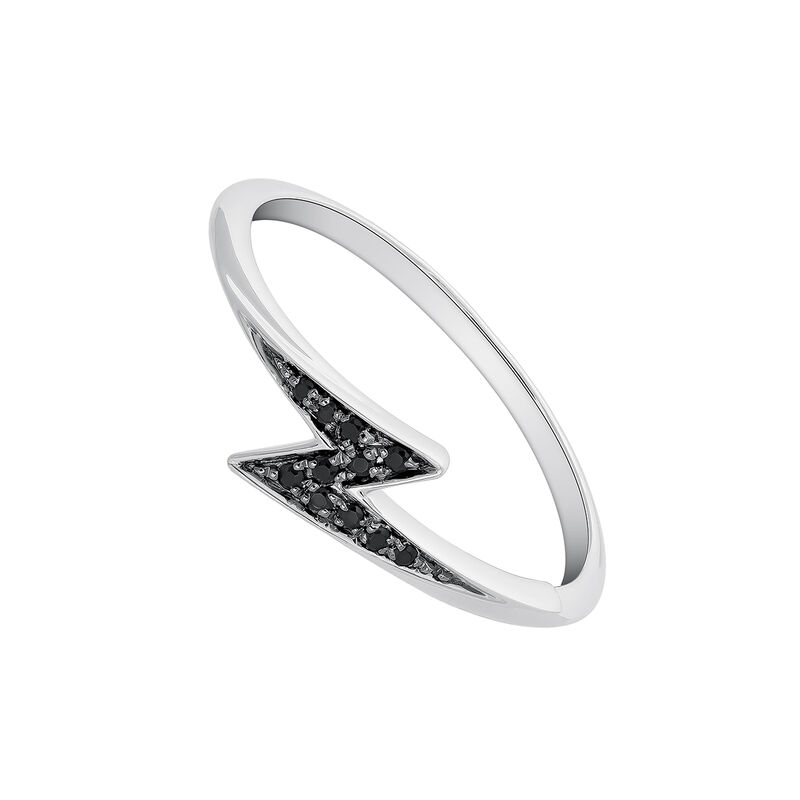 Silver spinel ring with small lightning bolt, J03626-01-BSN, hi-res