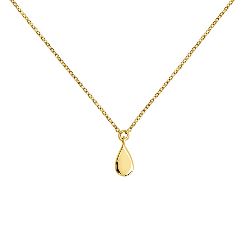 Gold teardrop necklace, J03865-02, hi-res