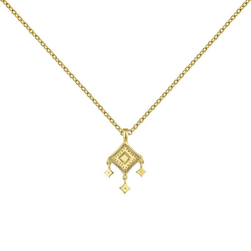 Gold plated mobile motifs ethnic necklace, J04445-02, hi-res