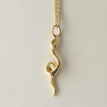 Collier serpent argent plaqué or, J04852-02, hi-res