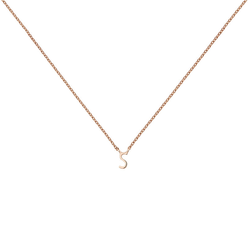Collar inicial S oro rosa9 kt, J04382-03-S, hi-res